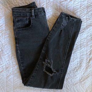 ASOS high rise destroy black skinny jeans 5006